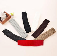 Womens Gray Crochet Striped Long Leg Warmers Boot Covers Boot Toppers
