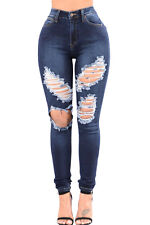 Denim Blue Wash Ripped Cutout Girl Skinny Jeans Women Fashion Tight Fit Trousers