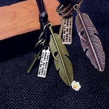 Handmade Alloy Rope Metal Feather Cross Cowhide Leather Chain Pendant Necklace