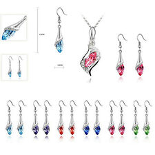 Fashion Combination Crystal Earrings Austrian 2016 1 Set HOT NEW Necklace Hot