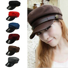 Mens Women Stylish Military Army Cadet Baseball Cap Hat Leather Trucker Hats