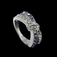 New Purple Amethyst Crystal Jewelry White Gold Filled Rings 6-10 Size Ring