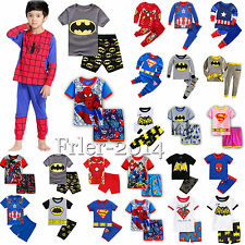 Kids Boys Superhero Cartoon 2pcs Outfit Set Child Short/Long Sleeve Pajamas 0-8Y
