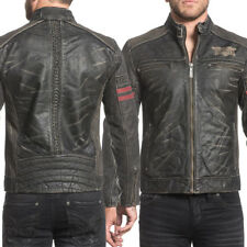 Affliction Born To Race 110OW270 Moto Biker Skull Mens Leather Jacket Black NEW