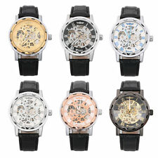 Men's Leather Dial Skeleton Non-Auto Mechanical Hand Wind Army Wristwatches AU