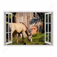 READY TO HANG CANVAS Horse Grazing Farm Fake 3D Window Framed Art Giclee