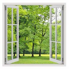 READY TO HANG CANVAS Green Nature Fake 3D Window Oil Painting Print Framed Art