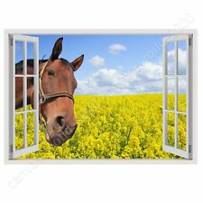 READY TO HANG CANVAS Horse In The Field Fake 3D Window Framed Print For Bedroom