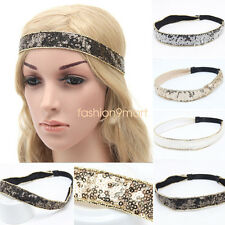 Women Girls Sequin Glitter Softball Cheerleading Dance Sports Stretch Headbands