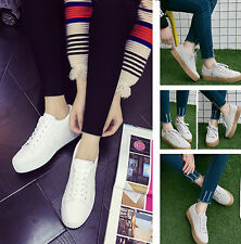 Lace Up Flatform Creeper Shoes Casual Ladies Flat Walk Womens High Top Trainers