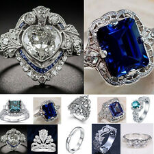 Women 925 Silver Tanzanite White Topaz Gemstone Ring Wedding Engagement Size6-10