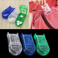 Portable Travel Medicine Pill Compartment Box Case Storage with Cutter Blade RX