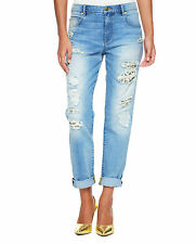 NWT JUICY COUTURE Leopard Patch Blue Stone Wash Boyfriend Distressed Jeans $178