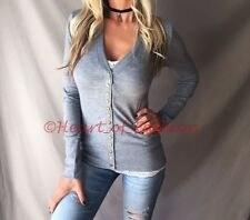 SEXY Gray Low Cut V-Neck Long Sleeve Knit Snap Button Cardigan Sweater Top