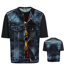 Personality Men Casual T-shirt Cotton Blend Short Sleeve 3D Graphic Printed Tops