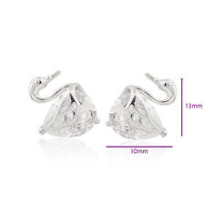 Lovely 18K White Gold Filled Crystal Womens Swan Stud Earrings Jewelry