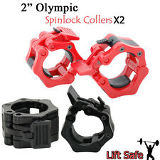 "2"" Olympic Spinlock Collers Pair x2 Clamps set 5cm Weight Lifting Barbell Bar"