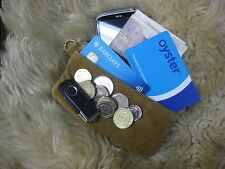 SUEDE REAL LEATHER POCKET POUCH WALLET PURSE PHONE