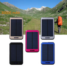 NEW 30000mAh Solar Charger 2 USB External Battery Power Bank For iphone Samsung