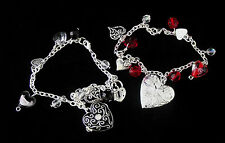 Charm Bracelet with Heart Locket - Love Themed, Great Gift