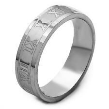 Stainless Steel Filled Mens Ring Carve Roman Numerals Band Ring Size 7 8 9 10 11