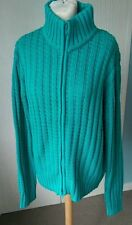 Ladies Long Tall Sally Green/Teal Zip Up Cardigan Cotton rrp-£35 S 14 18