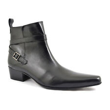 Gucinari Alfredo Black Leather Men'S Beat Boots Heel Buckle Pointed Ankle Boot