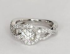 1.90 Ct Infinity Halo Round Diamond Engagement Wedding Ring 14K White Gold Over