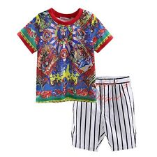 Boys Short Sleeve Printed T-shirt Top + Striped Shorts Set Kids Clothes Outfit