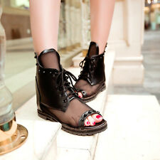 Lady Gothic Retro Mesh Lace Up Open Toe Rivets Hidden Wedges Ankle Boot Sandals