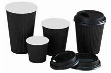 8/12/16oz Insulated Ripple Disposable Paper Coffee Cups, Black - Wholesale