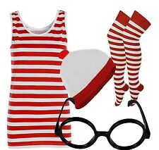 Red And White Striped Ladies T-Shirt Vest Hat Nerd Glass Socks Fancy Dress lot