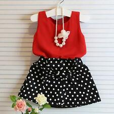 2017 2PCS New Kids Baby Girl Sleeveless T-shirt +Skirt Dress Clothes Set Outfits