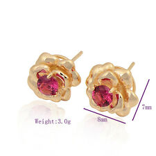 Chic Classic 9K Yellow Gold Filled CZ Womens Flower Stud Earrings Fashion