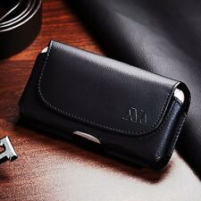 LARGE CELL PHONE Universal Black Leather Horizontal Holster Belt Clip Pouch Case