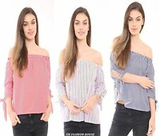 New Womens Ladies Pinstripe Stripe Off Shoulder Bardot Cotton Crop Top Blouse UK