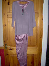 LADIES PINK/MINK PYJAMAS SIZES 12 -18  WITH JERSEY KNIT TOP SATIN TROUSERS
