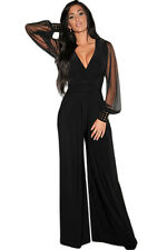 Black, Wine red or Blue Embellished Cuffs Long Mesh Sleeves Jumpsuit 8 10 12 14