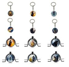 Beauty and the Beast Stain Cabochon Glass Necklace Keychain Key Chain  Keyring