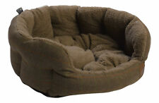 Brown Herringbone Tweed Pet Bed Petface Dog Puppy Basket Sherpa Fleece Cushion