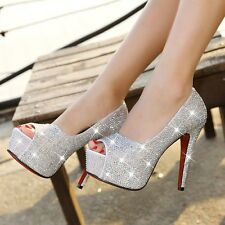 Ladies High Heels Wedding Evening Prom Diamond Party Pumps Platform Shoes