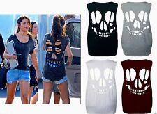 Womens Ladies Baggy Laser Cut Out Skull Back Sleeveless T Shirt Top Size 8-14