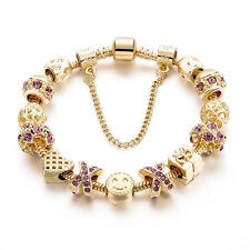 New 2017 Crystal Heart Charm Bracelets & Bangles Gold Plated   Jewellery