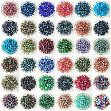 NEW 50PCS 6mm Glass Oblate Pearl Spacer Loose Beads Pattern Jewelry Making J