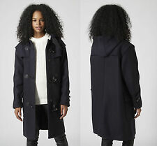 Topshop Premium Thick Wool Duffle Coat Leather Trims Hood UK 8 10 12 14 16 BNWT