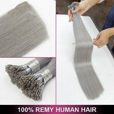 7A 16-22Inch Sliver Grey Keratin Stick I-tip Remy Human Hair Extensions 1.0g/s