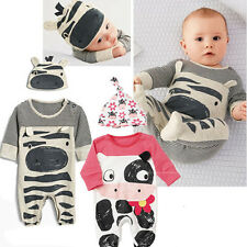 2pcs Toddler Infant Baby Girl Cow Hat+Romper Playsuit Cute Jumpsuits Outfit Set