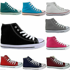 NEW LADIES WOMEN HIGH TOP LACE UP FLAT CANVAS TRAINERS PLIMSOLLS SHOES SIZE 3-8