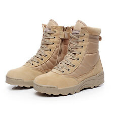 MAN MILITARY TACTICAL COMBAT DESERT BOOTS SIDE ZIP WORK ANKLE BOOT HIKING BOOTS
