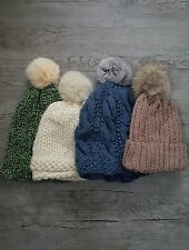 REAL FUR POM POM KNITTED BEANIE HAT WINTER WARM WOOLY HANDMADE LOT